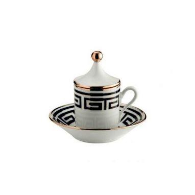 Labirinto Noir Tasse à Café avec Couvercle et Soucoupe Set de 2 pcs