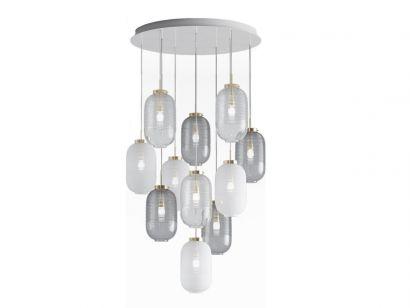 Lantern Chandelier 4 Fumè 4 Blanc 3 Trasparent