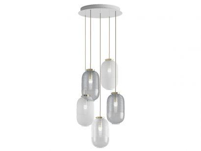 Lantern Chandelier 2 Fumè 3 Blanc 2 Trasparent