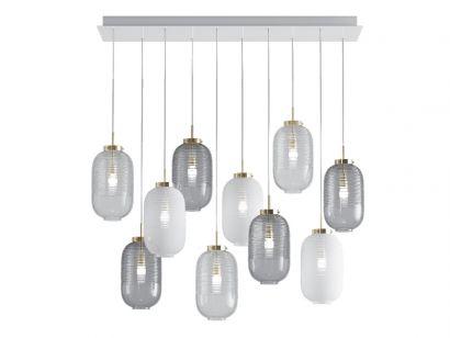 Lantern Chandelier 4 Fumè 3 Blanc 3 Trasparent