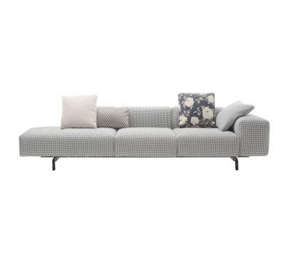 Largo 2 Seater Sofa + Ottoman - Pied Poule Grey