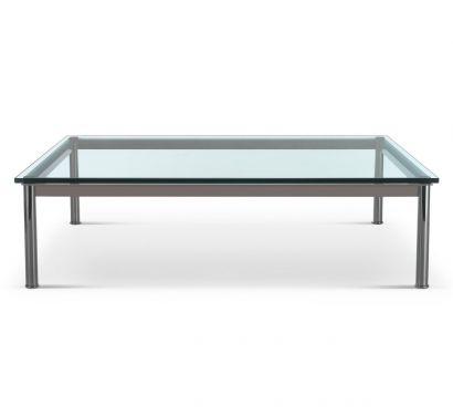 LC10 Table Basse - Couleur de Boue Mat/Plateau en Cristal