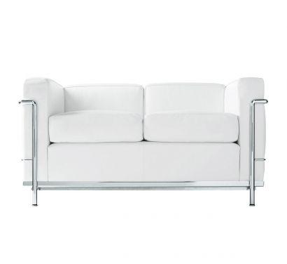 LC2 2 Seater Sofa LCX White / Chromed Base