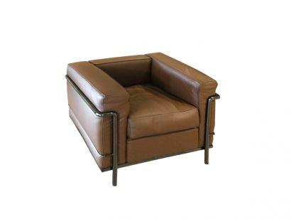 LC2 Armchair - Gunmetal Grey Chrome / Leather 13X312