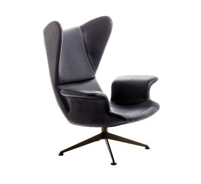 Longwave Swivel Armchair - Black Leather