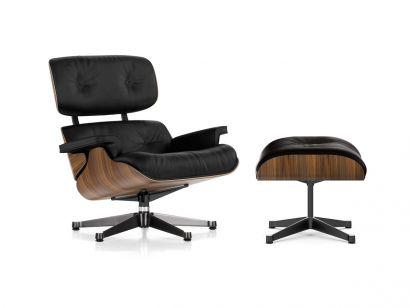 Eames Lounge Chair & Ottoman - Noce Pigmentato Nero/Pelle Premium Nero 66