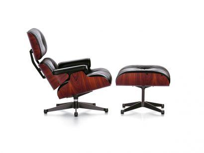 Eames Lounge Chair & Ottoman - Palissandre Santos/Cuir Premium Noir 66