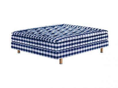 Maranga Bed - Blue Check - Mattress and Topper 180x200 / Double Base 90x200 / 16 cm Natural Oak Legs