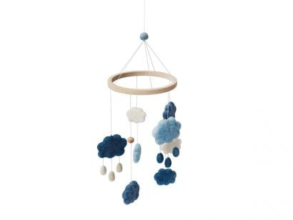 Clouds Felted Baby Mobile - Denim Blue