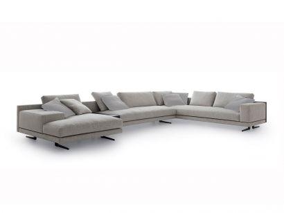 Mondrian Sofa Composition with Chaise Longue and Shelf - Fabric cat. E Skyros 01 / Black Elm / Brown Nickel Feet