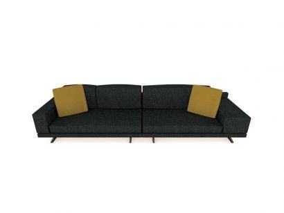 Mondrian Sofa L. 340 cm - Fabric D Itaca 112 Coal / Cushions Fabric E Persia 1403 Ochre