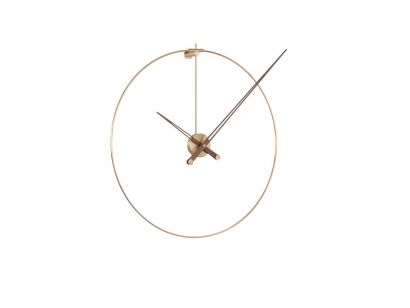 New Anda G Wall Clock - Polished brass / Natural solid walnut wood
