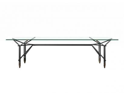 815 Olimpino Table - L. 240 Noir Mat/Verre Transparent
