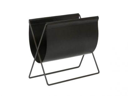 Maggiz Magazine Rack - Black Leather/Black Frame