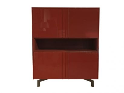 Pass-Word Cabinet - Cedar Wood / Ruby Glossy Lacquer