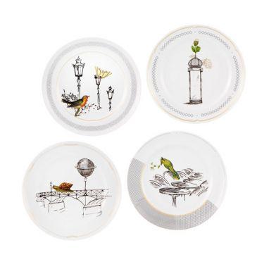 Petites Histoires Set 4 Dessert Plates