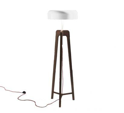 Pileo Lampada da Terra - Noce Canaletta / Bianco Lucido