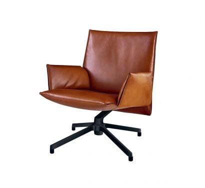 Pilot Chair - Low Backrest - Leather Cognac Venezia