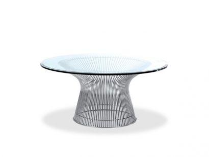 Platner Tavolo - Top Cristallo Trasparente / Polished Nickel / Ø 152 cm