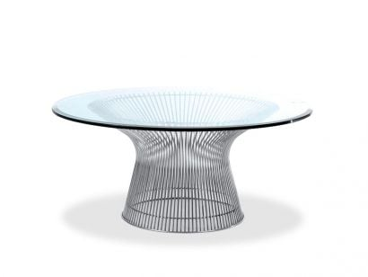 Platner Tavolo - Top Cristallo Trasparente / Polished Nickel / Ø 180 cm