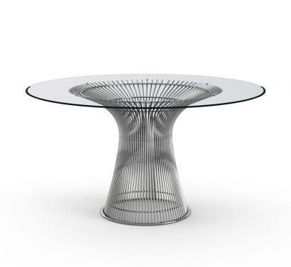 Platner Dining Table - Clear Glass Top / Polished Nickel / Ø 135 cm