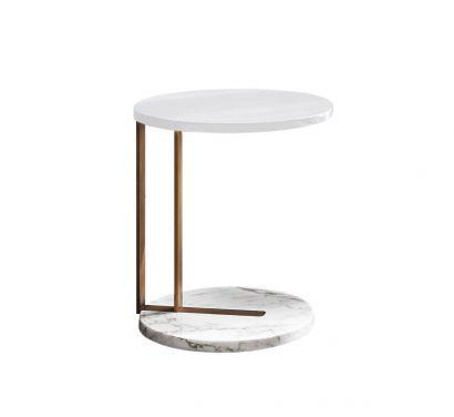 Ralf Side Table - Bronze/Calacatta/White