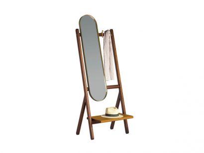 Ren Free-standing Mirror Coat Rack - Canaletto Walnut/Cammello