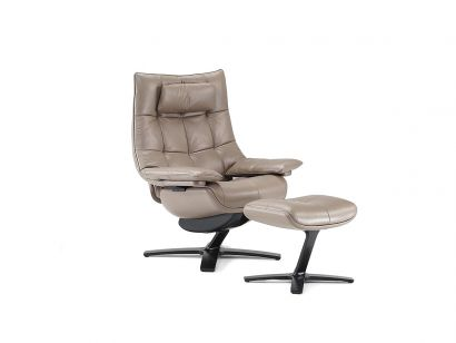 Re-Vive Quilted King 600K Armchair + Footrest + Headrest - 20PE Leather Pearl Taupe Rewind / Matt Black BF01