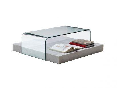 Ribbon Table Basse 100x100 - Marbre de Carrare Blanc / Cristal Transparent
