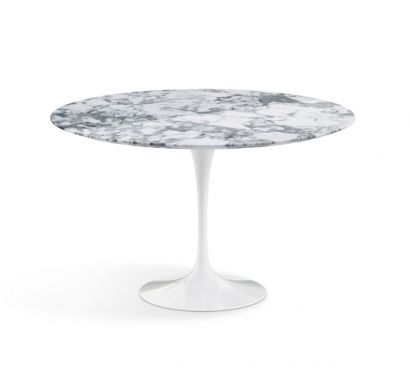 Saarinen Round Table - 137 Arabescato Marble/White Base