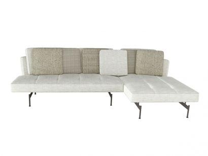 Sakè Sofa with Chaise Longue Fabric Silente 102 by B&B Italia