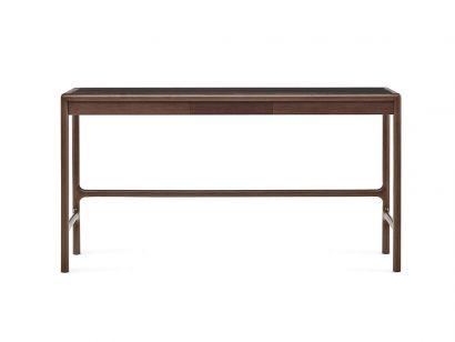 Arturo Desk - 132x52 cm / Natural Leather col. 202 Anthracite / Walnut
