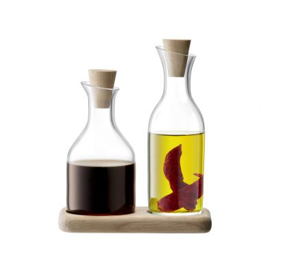 Serve Oil & Vinegar Set & Oak Base