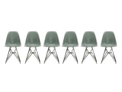 Eames Fiberglass Side Chair DSR - Basic Dark Set 6 Chairs Vitra