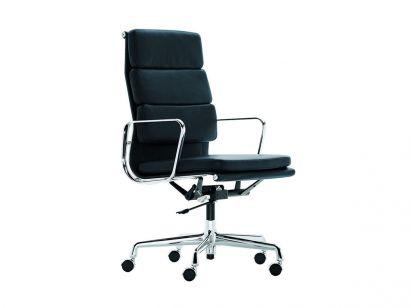 Soft Pad EA 219 Office Chair - High Backrest - Chrome/Leather Premium 60 Blu Fumo