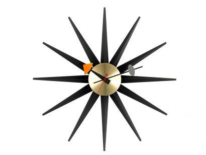 Sunburst Horloge Murale - Noir/Laiton