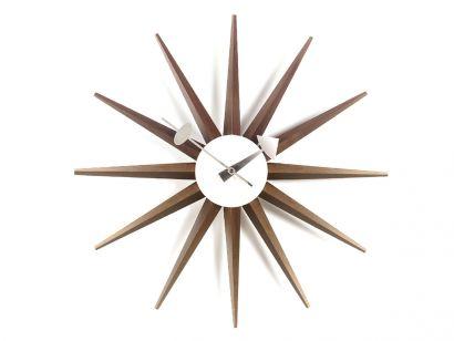 Sunburst Wall Clock - Walnut