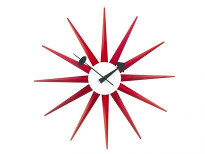Sunburst Wall Clock - Red