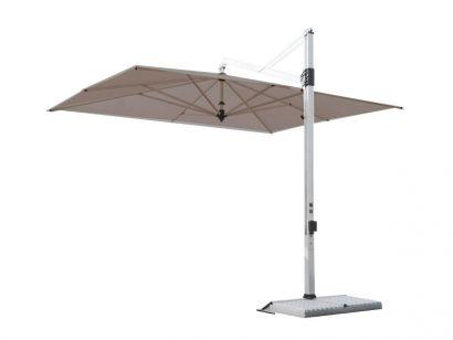 Rodi Parasol 300x400 / Sunbrella Acrylic textile Natural 5404 / Structure blanche / Plaque de base Alu 1 Blanc