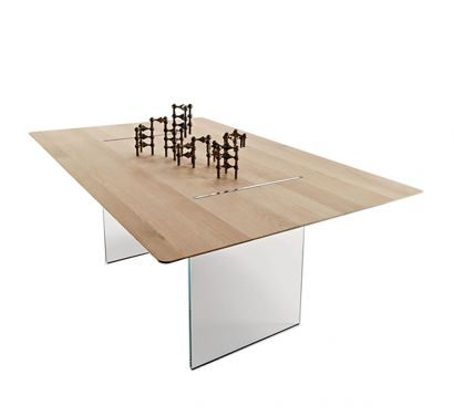 Tavolante Tavolo - Aged Oak/Base Trasparente