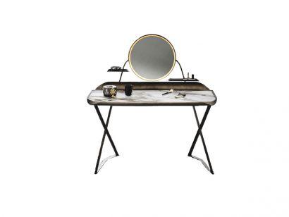 Cocoon Trousse Keramik Dressing Desk - Goffred Bronze / Brushed Bronze / Breccia Ceramic