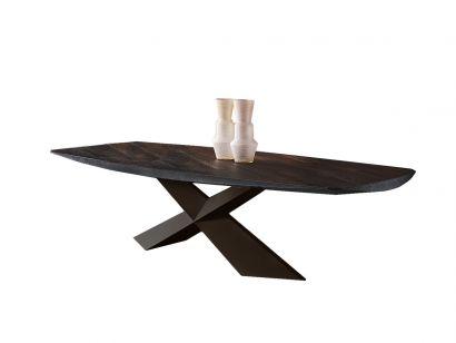 Tyron Wood Table - Master Wood Burnished Oak / Goffred Bronze