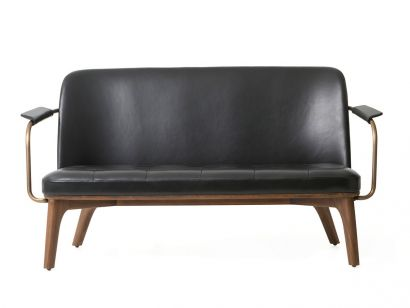 Utility Lounge Chair Two Seater - Black Leather/Walnut