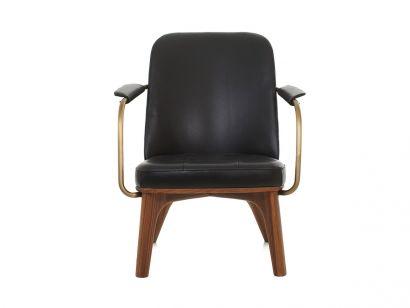 Utility Lounge Chair Black Leather/Walnut