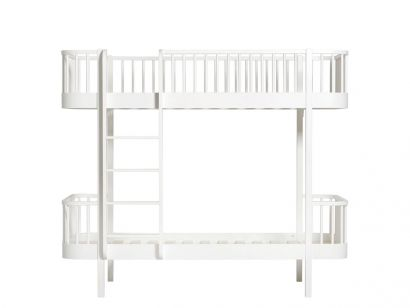 Wood Bunk Bed with Front Ladder